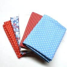 Pack of 5 100% Cotton Mixed Prints Blue & Coral Red Fat Quarters